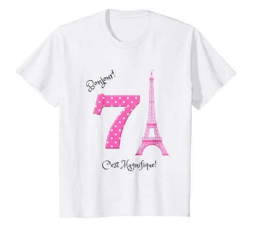 Kids A Day In Paris Girls Seventh Birthday Shirt