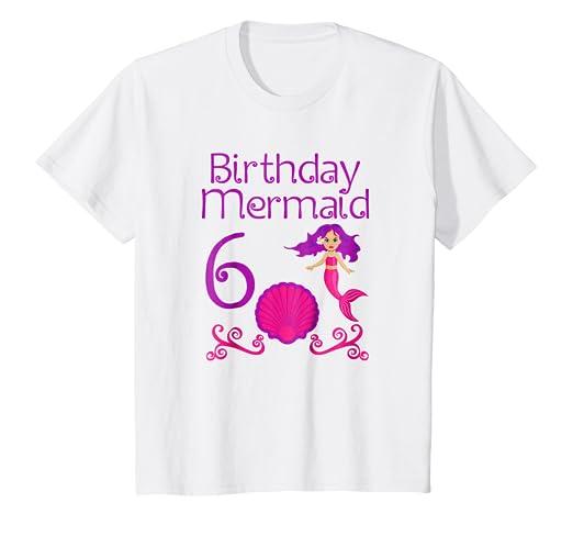 Kids 6th Mermaid Birthday T Shirt For 6 Year Old Girls