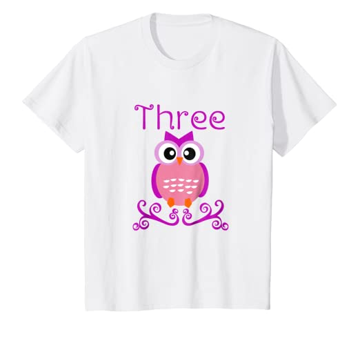 Image Unavailable Not Available For Color Kids 3 Year Old Owl Birthday Party 3rd T Shirt