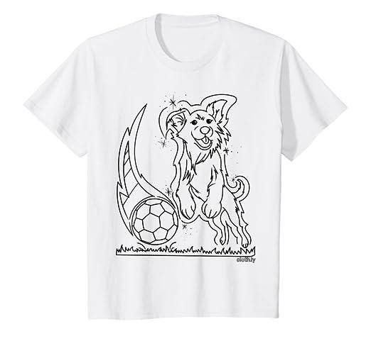 Kinder T Shirt Zum Ausmalen Und Bemalen Hund Fussball Jungen
