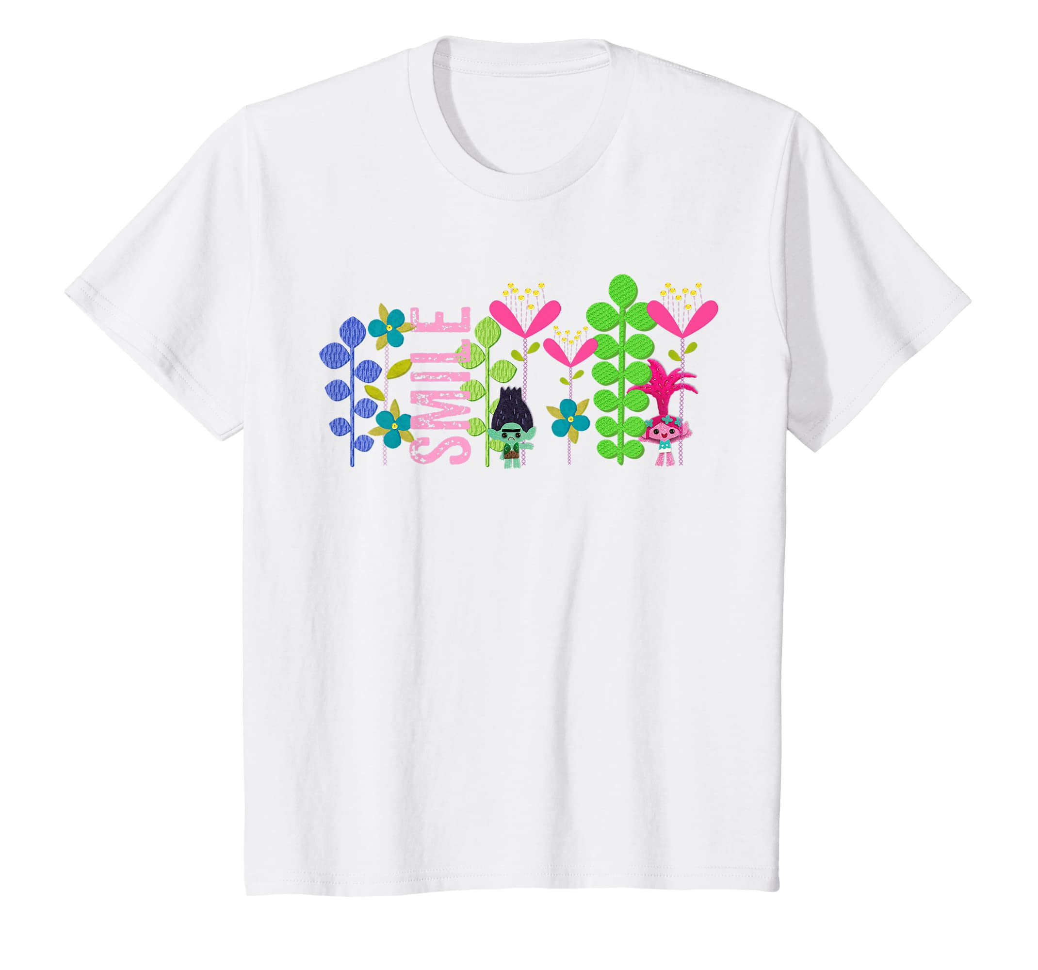 413fb724c Amazon.com: Kids DreamWorks' Trolls Smile Branch and Poppy T-Shirt: Clothing
