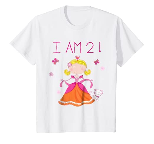 8ca2dd39 Image Unavailable. Image not available for. Color: Kids I Am 2! I Am Two  Princess Cat Birthday T-Shirt For Girls