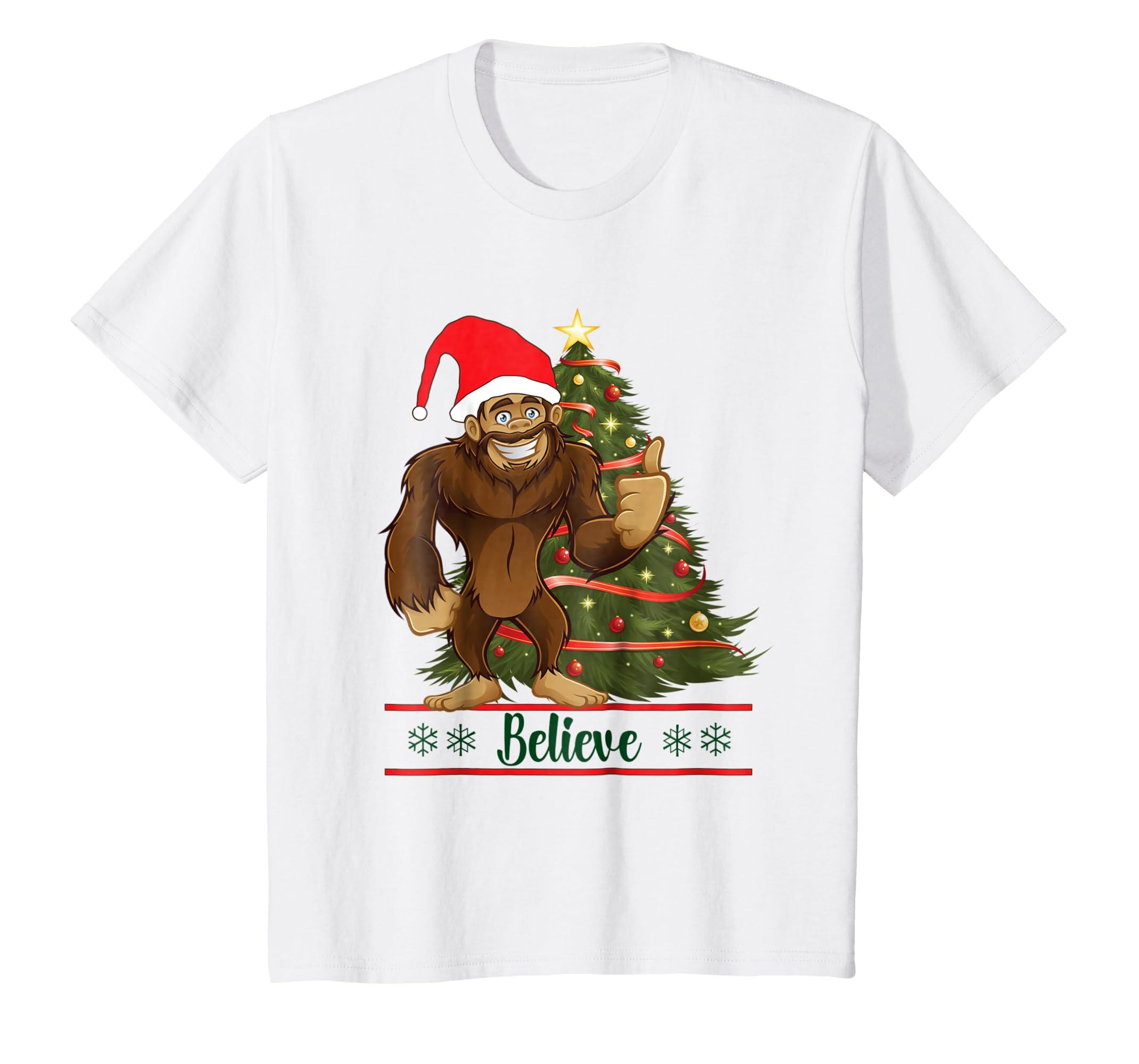 d052f6217d Amazon.com  Bigfoot I Believe Sasquatch Christmas T Shirt Gift tee shirt   Clothing