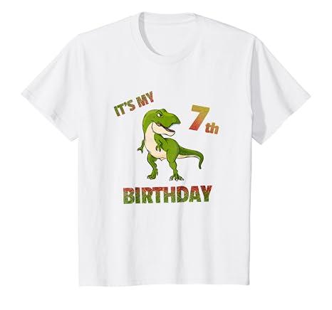 Kids Birthday Boy 7 T Shirt Yrs Old Rex