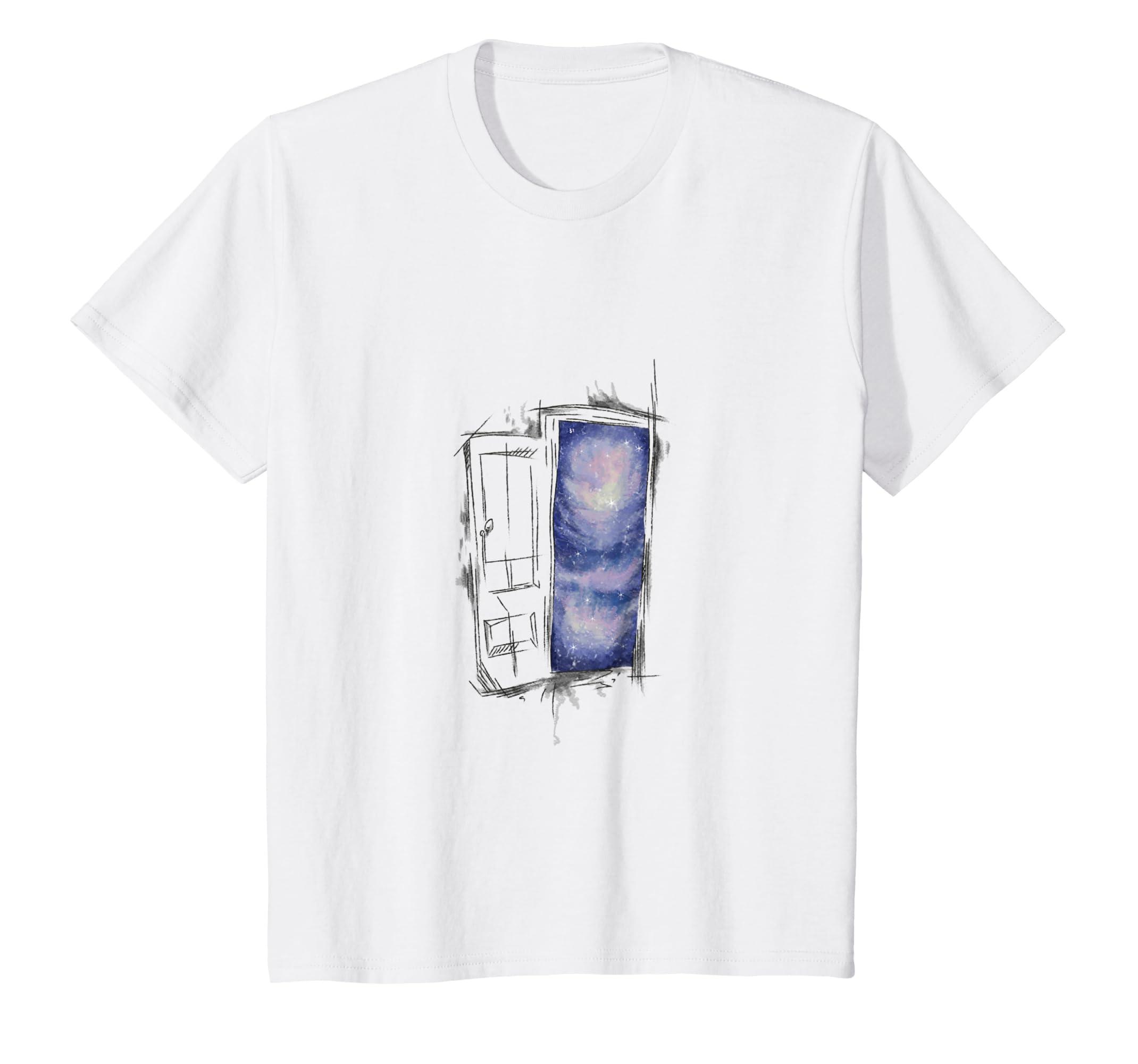 Geometric Open Door Blue Space Emptiness Abstract Tee Shirt-Teesml