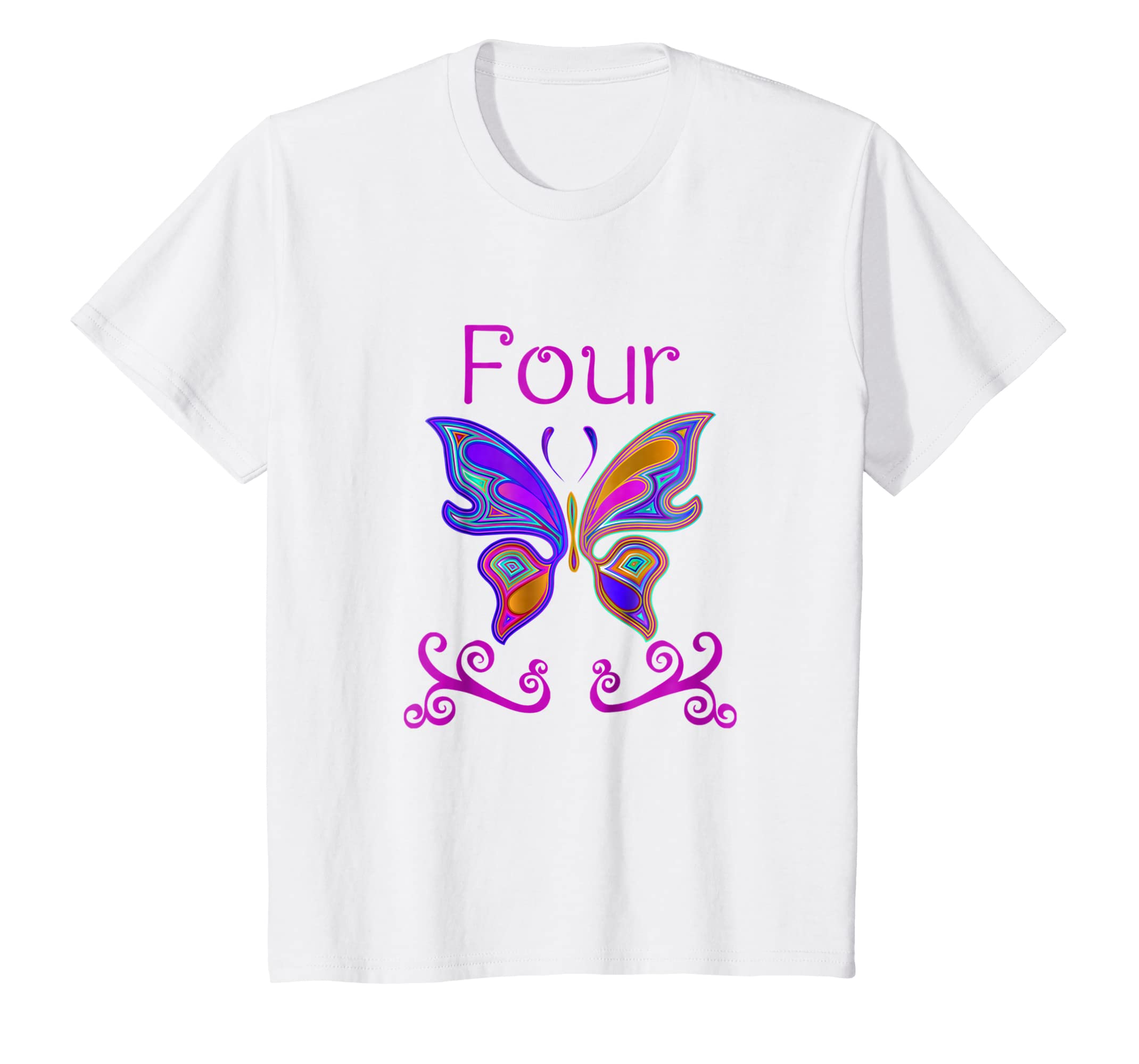 Amazon Kids 4 Year Old Butterfly Birthday Party 4th Shirt Clothing