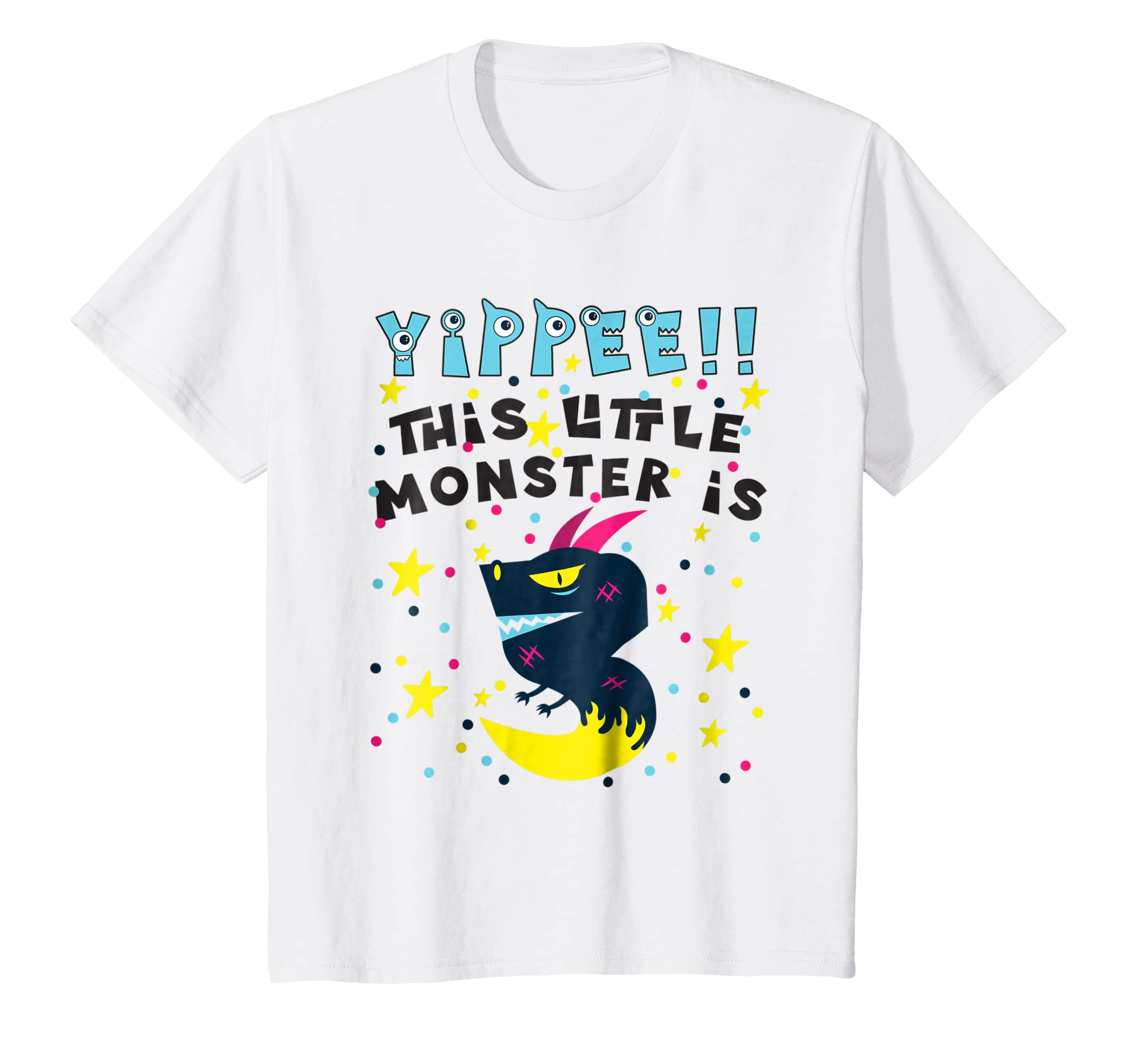 Amazon Kids Monster Birthday Shirt Three 3 Year Old Boy Girl 3rd Third Clothing