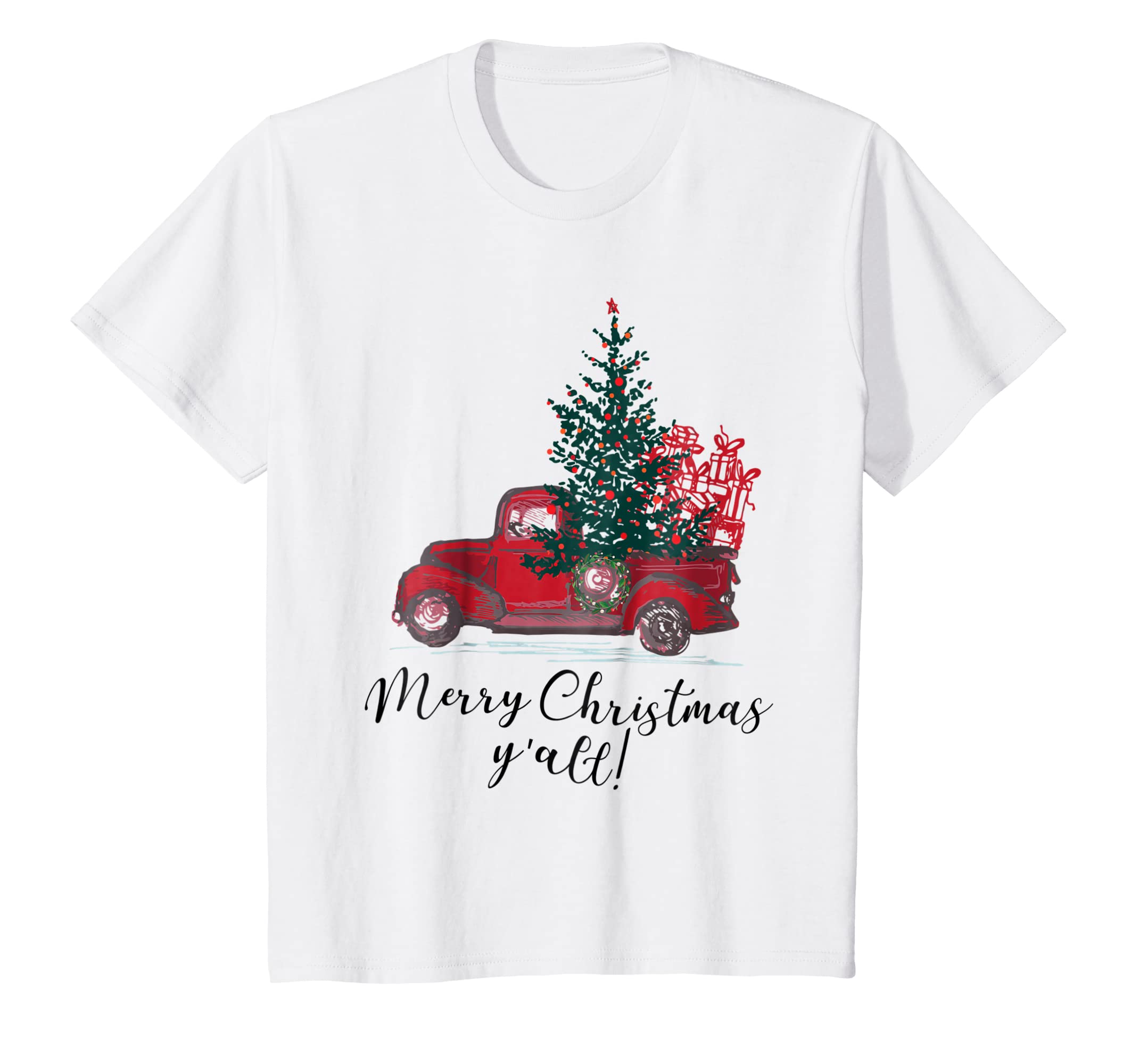 84086e3f Amazon.com: Red Truck Merry Christmas Y'all Tshirt Merry Xmas Gifts:  Clothing