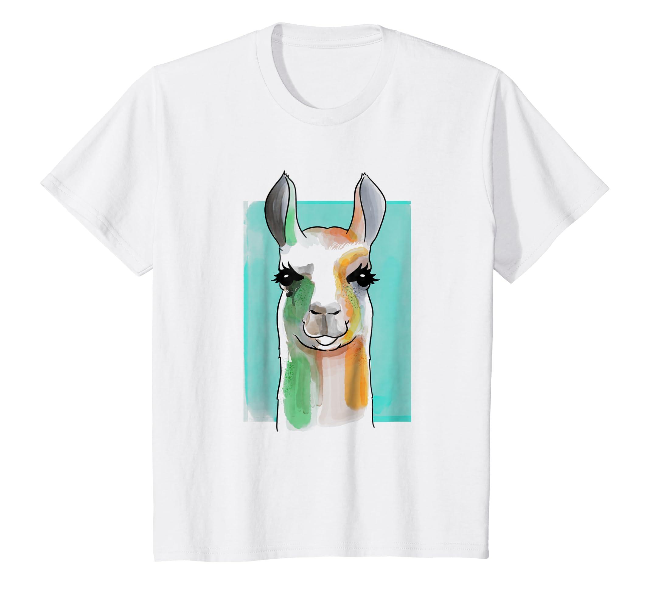 Amazon Llama Watercolor Printed T Shirt Clothing