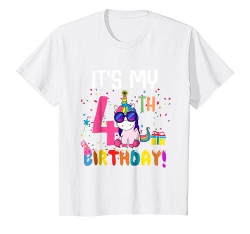 Kids 4 Years Old 4th Birthday Unicorn Shirt Girl Daughter Gift Pa