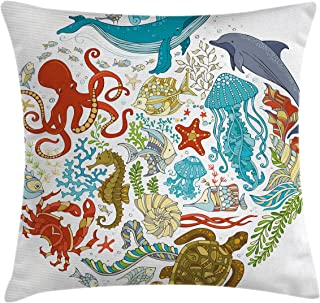 Lunarable Ocean Throw Pillow Cushion Cover, Fish Sealife Octopus Whales Dolphin Moss Starfish Turtle World Shaped Artwork Print, Decorative Rectangle Accent Pillow Case, 36