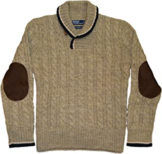 Polo Shawl Turtleneck Wool Cable Sweater Elbow Beige Brown Large