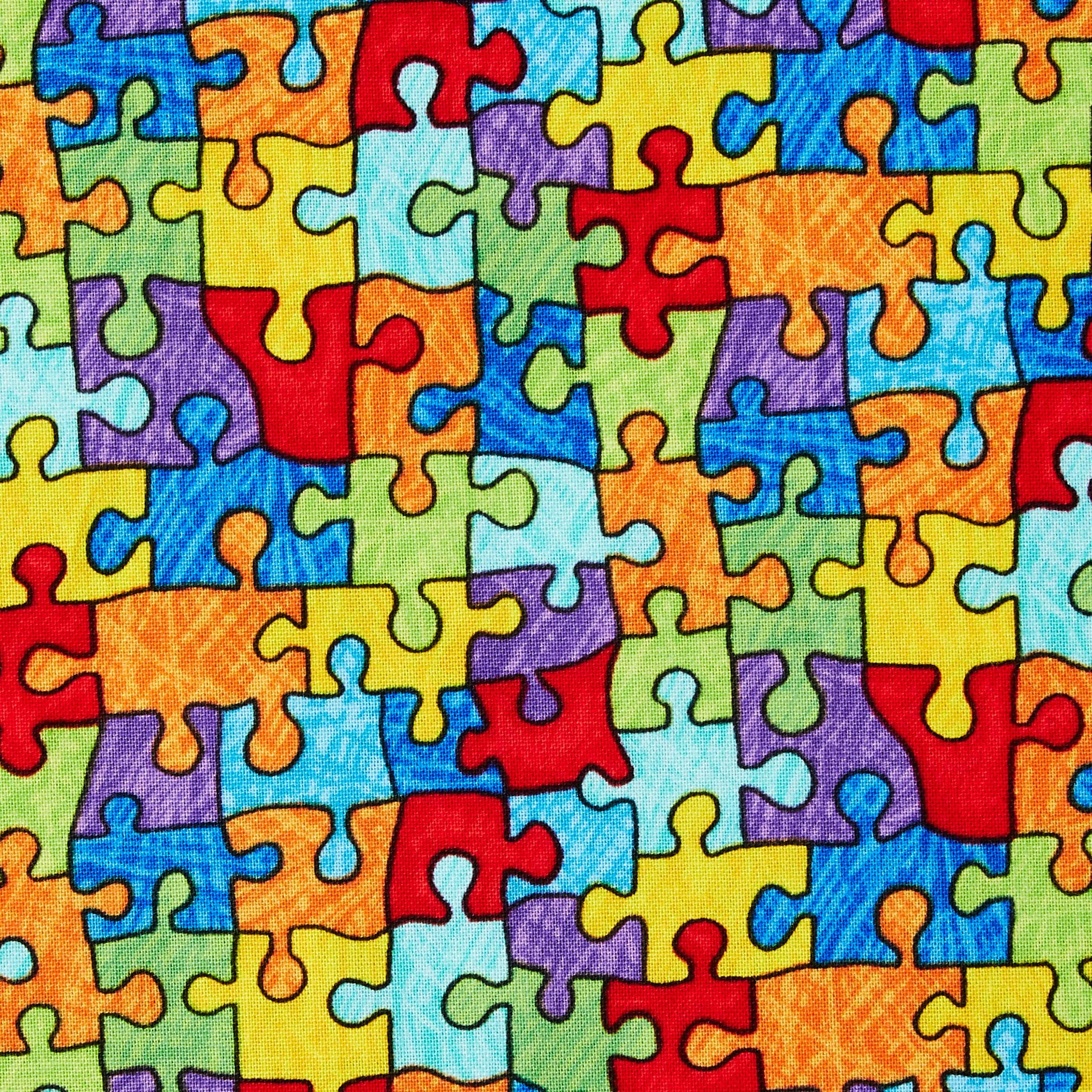 Autism Awareness Special Needs Teacher Puzzle Pieces Fabric Fat Quarters Cotton Precut Fabric Back to School Mask Making Fabric Sale