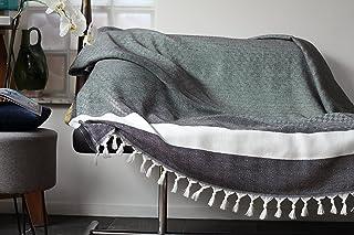 Allée Déco Grand Plaid, jeté de canapé ou Couvre lit Gris | Très Doux, Fait Main 100% Coton Haute qualité | Taille XL 150x...