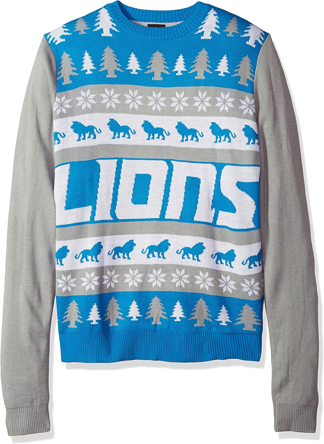 KLEW NFL Detroit Lions Busy Block Ugly Sweater, Medium, bluee