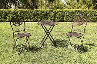 Alpine Corporation KIY212A-BR 3-Piece Floral Bistro Outdoor Conversation Set for Patio, Yard, Garden-Brown, 28-Inch Tall,