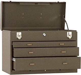 "Kennedy Manufacturing 620B 20"" 3-Drawer Machinists` Steel Tool Storage Chest, Tan Brown Wrinkle"