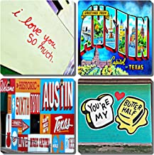 EXIT82ART - Stone Drink Coasters (Set of 4). Austin, Texas Street Murals. Tumbled Stone, Cork-backed
