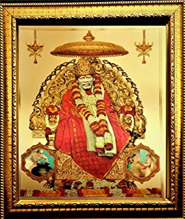 ADA Handicraft Sai Baba Photo Frame for Wall and Pooja/Poster for Pooja/Religious Framed Painting for Worship (35 X 25) cm
