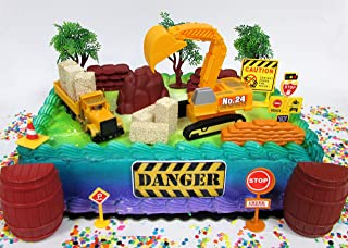 Cake Toppers Construction Themed Featuring Earth Moving Equipment Vehicles and Decorative Themed Accessories