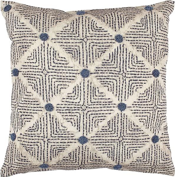 Rivet Transitional Tufted Dot Diamond Decorative Throw Pillow 17 X 17 Navy