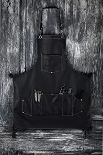 Facón Professional Leather Hair Cutting Hairdressing Barber Apron Cape for Salon Hairstylist - Multi-use, Adjustable with 7 Pockets - Heavy Duty Premium Quality - Limited Edition - 30