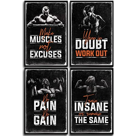 """Gym Posters for Home Gym Decor, Motivational Posters for Gym, Workout Posters for Home Gym, Motivational Poster, Fitness Posters, Workout Room Decor, Inspirational Posters, Gym Wall Art, 4 Set 11x17"""""""