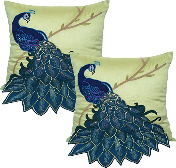 BLUETTEK Embroidered Gorgeous Peacock Decorative Throw Pillow Case 18 Inch By 18 Inch Pack Of 2