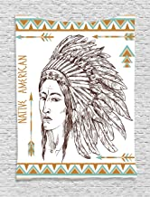Ambesonne Ethnic Tapestry, Traditional Native Man Portrait Illustration Print, Wall Hanging for Bedroom Living Room Dorm Decor, 40