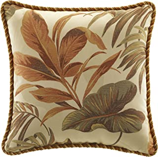 CROSCILL Home Fashions Bali Harvest Square Pillow, 18-Inch by 18-Inch