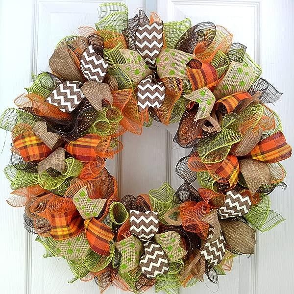 秋季门花环感恩节装饰网眼门花环棕色绿色粗麻布橙色白色 F1