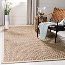 Safavieh Natural Fiber Collection NF114A Basketweave Natural and Beige Summer Seagrass Area Rug (8' x 10')
