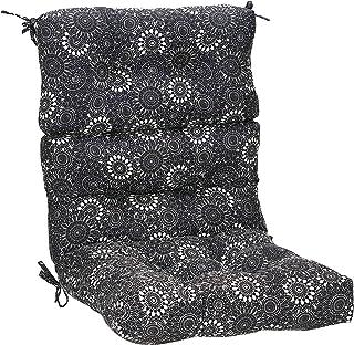 AmazonBasics Tufted Outdoor High Back Patio Chair Cushion- Black Floral
