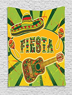 Lunarable Saying Tapestry, Mexican Fiesta Party Invitation Sombrero and Music Instruments Maracas and Guitar, Wall Hanging for Bedroom Living Room Dorm Decor, 40