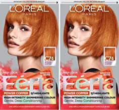 L'Oreal Paris Feria Multi-Faceted Shimmering Permanent Hair Color, C74 Intense Copper, 2 Count Hair Dye