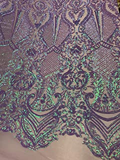 by The Yard/Geometric Design Mesh Lace Fabric Sequins 4 Way Stretch On A Blush Mesh/Iridescent Embroider (Purple,Green,Lavender) Prom/Gowns Dress