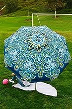 Beach and Grass Umbrella with Matching Travel Carrying Bag - Large 7 Feet 5 Inches Tilting Telescopic Aluminum Pole - Twist Sand/Grass Anchor - Wind Air Vent - Fiberglass Ribs (Atlantis Blue)