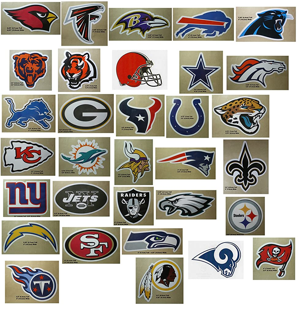 NFL Team Logo Stickers Set of 50 Football Stickers (All 32 Team Logos and more) 4.25