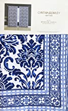 Cynthia Rowley Window Curtain Panels Exotic Damask Medallion Pattern with Geometric Border in Shades of Bright Blue Set of 2 Draperies Printed 100% Cotton - 42 Inches by 96 Inches