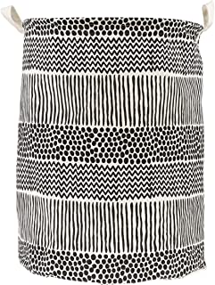 Black & White Laundry hamper, round storage basket, collapsible storage bin is made of cotton fabric. This Laundry Hamper ...