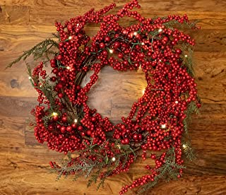 22 Inch Light-Up Christmas Wreath with Red Cranberries, Battery Operated LED Lights with Timer