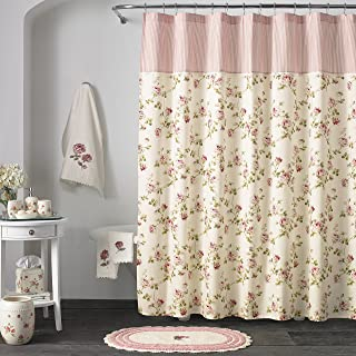 Five Queens Court Rosalind 100% Cotton, Embellished, Crochet Trim, Country Chic Floral Shower Curtain, Pink Rose
