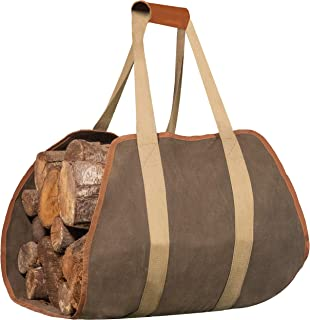 IGGY BLISS Firewood Carrier - Waxed Canvas Tote Bag with Padded Leather Handles - Extra Large (40