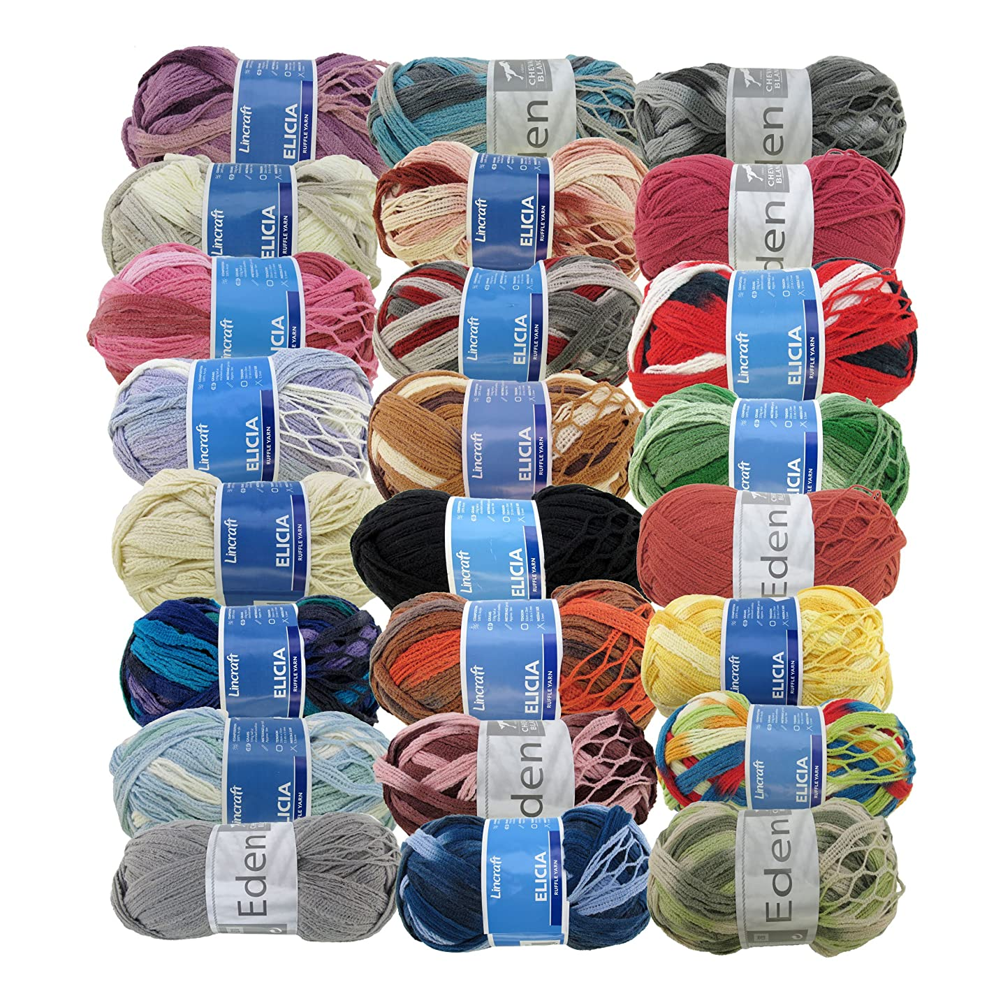 BambooMN Fancy Ruffle Scarf Yarn - Frilly Yarn for Scarves and Shawls - 150g - 100% Acrylic Yarn - Surprise Pack - 4 Skeins