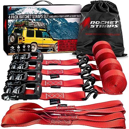 "Rocket Straps - Heavy Duty Ratchet Straps | 1.5"" x 15' - 4500lbs Break Strength Ratchet Tie Down Straps | 4 Ratchets & 4 Soft Loops | Ratchet Strap Bag | Uses Moving, Motorcycle, Trailer & Trucks"