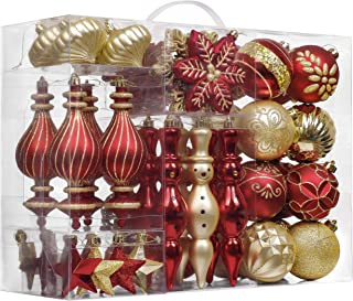 Valery Madelyn 60ct Luxury Shatterproof Christmas Ball Ornaments Decoration Red and Gold,2.36Inch-7.48Inch,Themed with Tree Skirt(Not Included)
