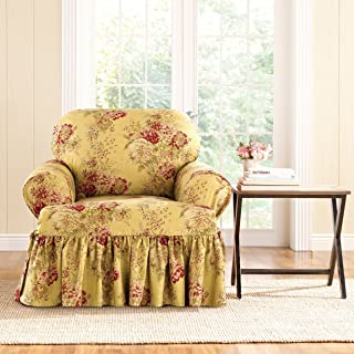 Sure Fit Sure-Fit Ballad Bouquet Armchair T-Cushion Skirted Slipcover Pink