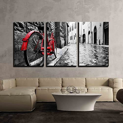 0417b5f5e69f wall26 3 Piece Canvas Wall Art - Retro Vintage Red Bike on Cobblestone  Street in The