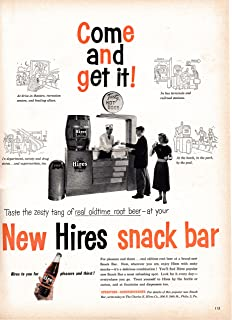 1953 Hires Root Beer-Snack Stand -Hot Dogs-Original 13.5 * 10.5 Magazine Ad