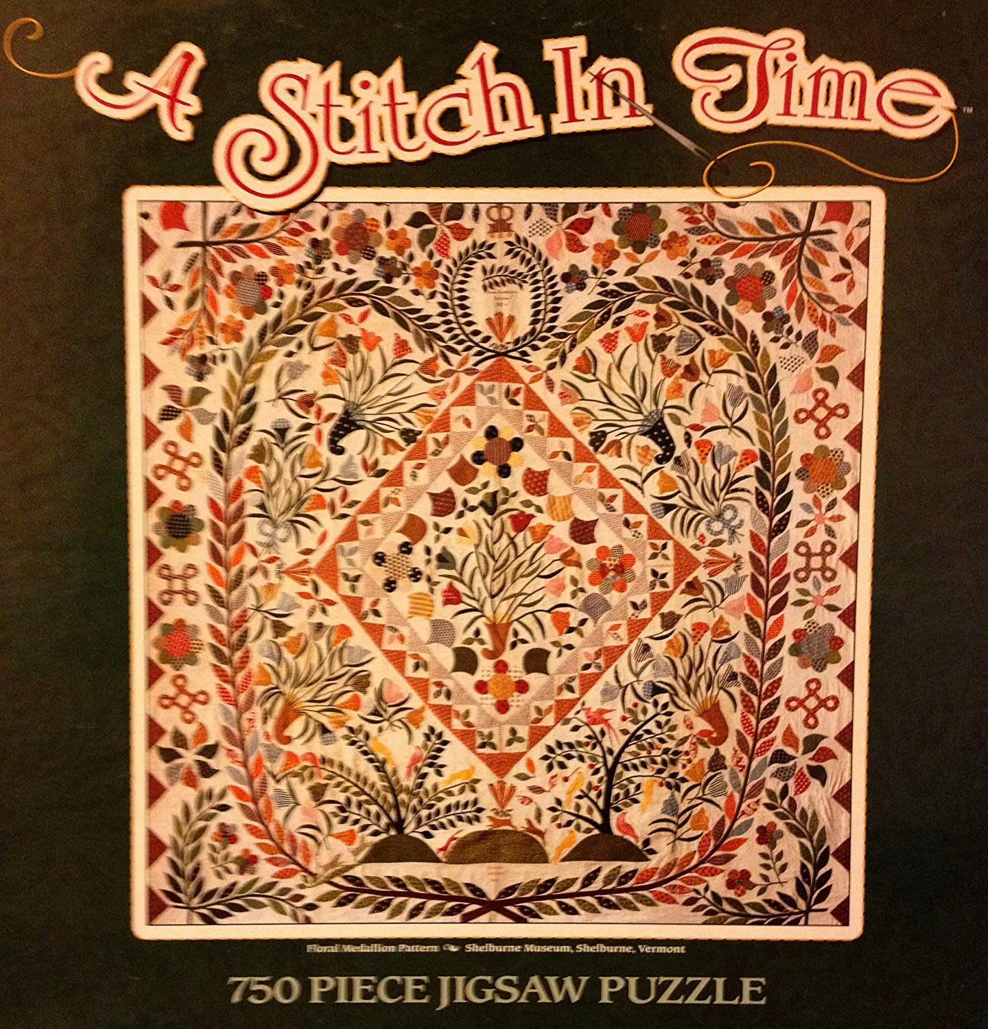 A Stitch in Time 750 Piece Puzzle Floral Medallion Pattern, 1814, Shelburne Museum in Vermont